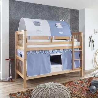Kinderetagenbett aus Buche Massivholz Vorhang und Tunnel in Hellblau Weiß