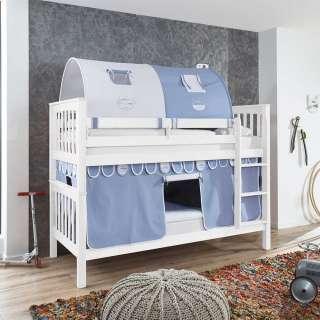 Kinderetagenbett in Weiß Buche massiv Tunnel und Vorhang in Hellblau