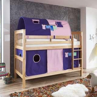 Kinderzimmer Stockbett aus Buche Massivholz Tunnel und Vorhang in Violett
