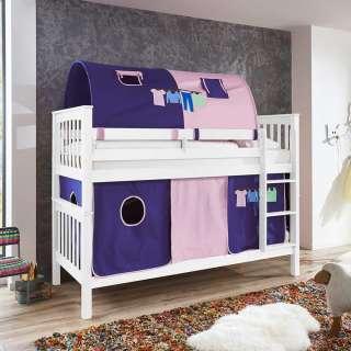 Kinderdoppelhochbett in Weiß Buche massiv Vorhang und Tunnel in Violett
