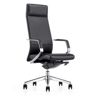 Schreibtischsessel in Schwarz Leder hoher Lehne und Armlehnen
