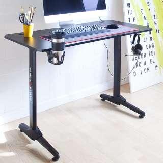 Gaming Schreibtisch in Schwarz Getränkehalter
