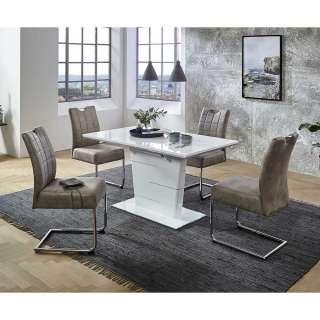 Esszimmersitzgruppe in Hochglanz Weiß und Beige ausziehbarem Tisch (5-teilig)