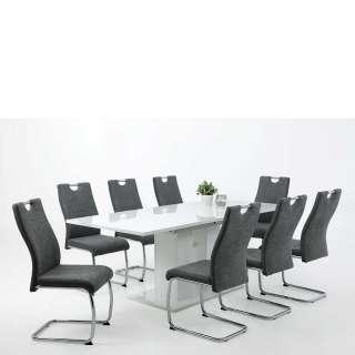 Esstischgruppe in Weiß Hochglanz und Anthrazit ausziehbarem Säulentisch (9-teilig)
