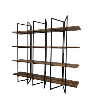 Bücherregal aus Teak Recyclingholz und Eisen 225 cm breit