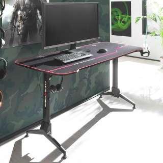 Höhenverstellbarer Schreibtisch in Schwarz T-Gestell