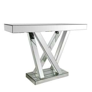 Designtisch aus Spiegelglas Säulengestell