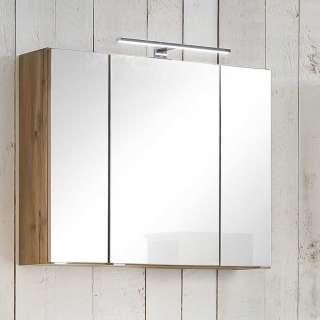 LED Spiegelschrank in Wildeichefarben 80 cm breit