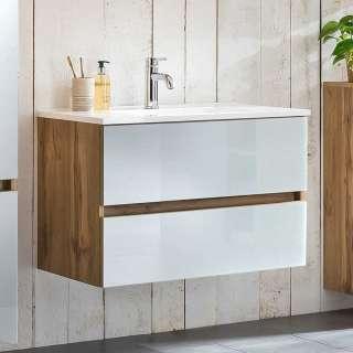 Waschschrank in Weiß und Wildeiche Optik 80 cm breit