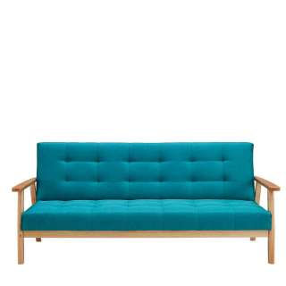 Retro Sofa in Petrol Webstoff Rücken-Klappmechanik