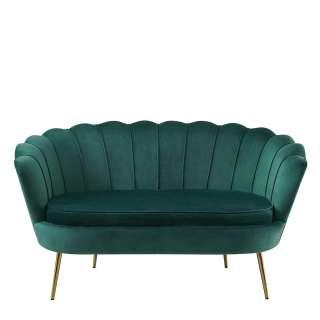 Samt Sofa in Grün Samt muschelförmig