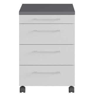 Schreibtischcontainer in Lichtgrau und Dunkelgrau Rollen