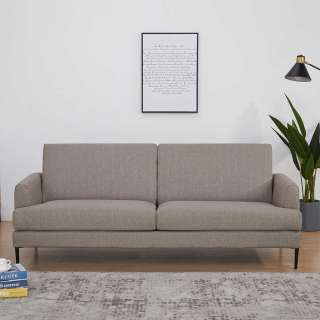 Webstoff Sofa in Hellbraun Armlehnen