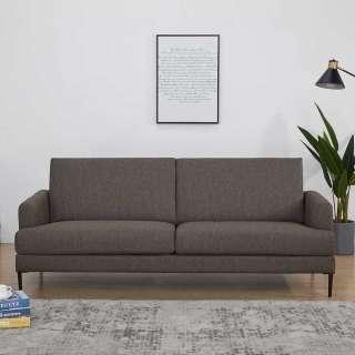 Wohnzimmer Couch in Dunkelbraun Webstoff 40 cm Sitzhöhe