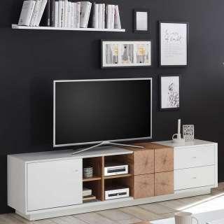 TV Lowboard in Weiß und Eiche Optik 180 cm breit