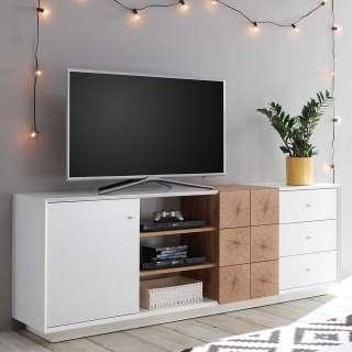 Fernsehunterschrank in Weiß und Eiche Optik 65 cm hoch