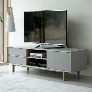 TV Board in Eiche Bianco und Hellgrau Skandi Design