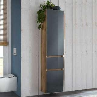 Badezimmer Hochschrank in Grau und Wildeiche Optik Glas beschichtet