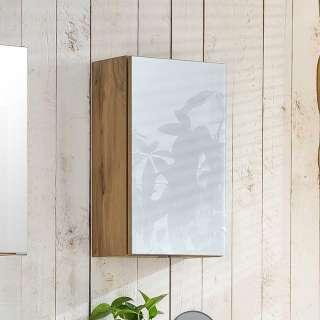 Badezimmer Hängeschrank in Weiß und Wildeiche Optik 40 cm breit