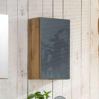Badezimmer Hängeschrank in Grau und Wildeiche Optik Glas beschichtet