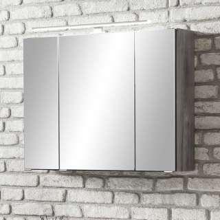 Lichtspiegelschrank in Eiche Grau 80 cm breit