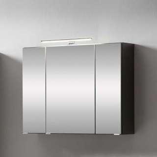 3 türiger Spiegelschrank in Grau 80 cm breit