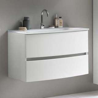 Weißer Waschtisch mit zwei Schubladen Wandmontage