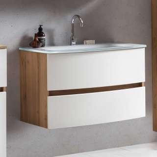 Waschbeckenunterschrank in Weiß und Wildeichefarben zwei Schubladen