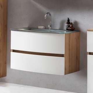 Waschbeckenunterschrank in Weiß und Wildeiche Optik Made in Germany