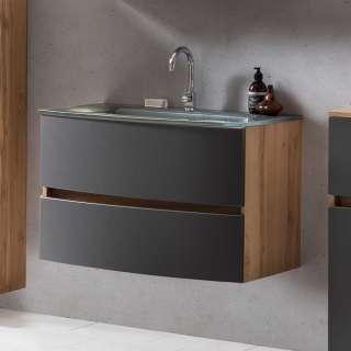 Schubladen Waschtisch in Grau und Wildeiche Optik 80 cm breit