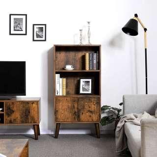 Bücherregal 185 cm Hoch in Weiß Braun