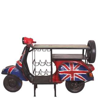 Design Bartisch aus Recyclingholz und recyceltem Metall Union Jack Style