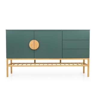 Skandi Design Sideboard in Dunkelgrün und Eiche 100 cm hoch