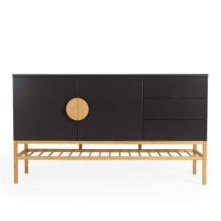 Design Sideboard in Schwarz und Eiche Skandi Design