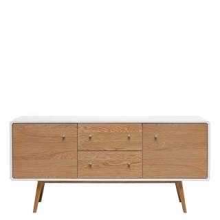 Skandi Design Sideboard in Weiß und Eiche 150 cm breit