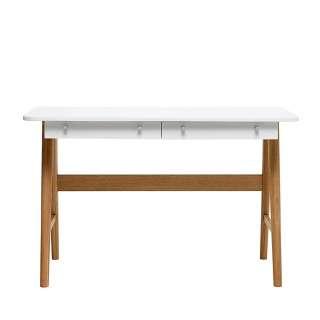 Designschreibtisch in Weiß und Eiche 120 cm breit