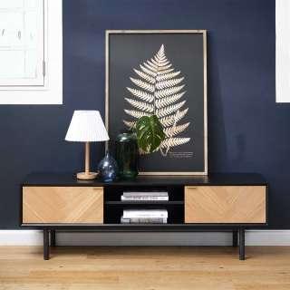 TV Board in Schwarz und Eiche furniert 160 cm breit