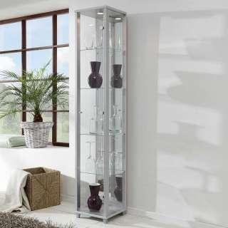 Wohnzimmer Vitrinenschrank in Silberfarben 1-türig