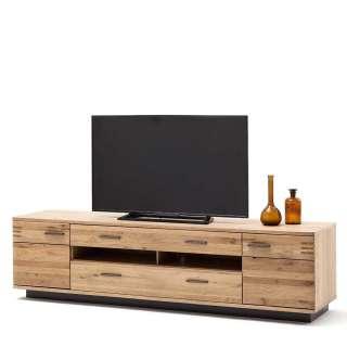 TV Unterschrank in Balkeneiche Bianco furniert 210 cm breit