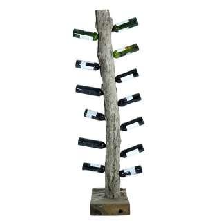 Weinregal aus Teak Massivholz 40 cm breit und 185 cm hoch
