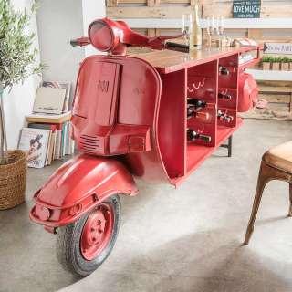Außergewöhnlicher Bartisch in Rot und Mangobaum Motorroller Style