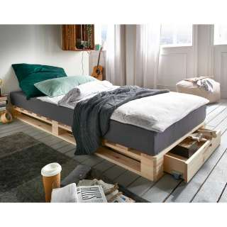 Palettenbett aus Kiefer Massivholz Bettkasten