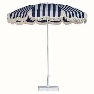 Jan Kurtz - Retro Sonnenschirm mit Fransen - weiß blau - outdoor