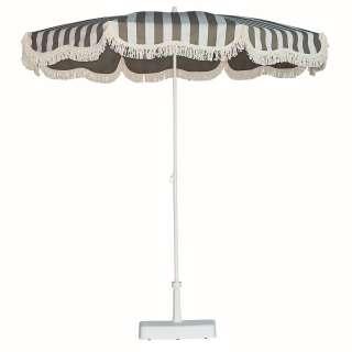 Jan Kurtz - Retro Sonnenschirm mit Fransen - weiß taupe - outdoor
