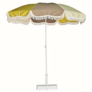Jan Kurtz - Retro Sonnenschirm mit Fransen - weiß taupe, natur gelb - outdoor