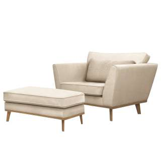 Drehbarer Sessel in Blau Webstoff Fußhocker (2-teilig)