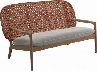 Gloster - Kay Sofa - Geflecht: Copper - Kissen:  - Blend Linen - outdoor