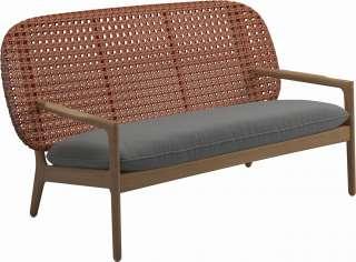 Gloster - Kay Sofa - Geflecht: Copper - Kissen:  - Blend Fog - outdoor