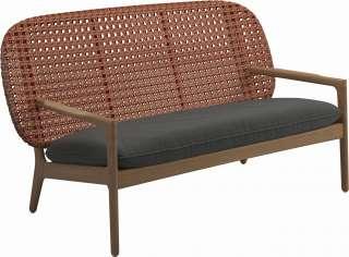Gloster - Kay Sofa - Geflecht: Copper - Kissen:  - Blend Coal - outdoor
