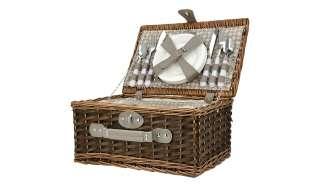 Picknickkorb mit Geschirr ¦ braun ¦ Kunststoff, Polyester, Weide, Baumwolle Aufbewahrung > Körbe - Höffner